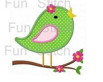 FLower bird applique machine embroidery design
