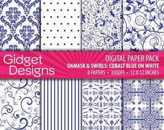 Cobalt Blue Digital Paper Pack Cobalt Blue on White Damask Patterns Summer Spring DIY Wedding Instant Dowload, Printable