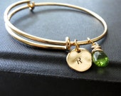 Aunt gift, Initial bangle bracelet with birthstone, adjustable size, gifts for aunts, family initial, grandma