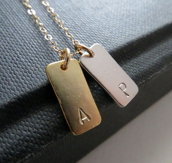 mixedmetal bar initial necklace, two initial rectangle bar necklace, gold and silver, modern personalized jewelry,  couples gift