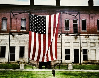 Fort Adams American Flag, Summer 2014 - 8x10 Metallic Photographic Print