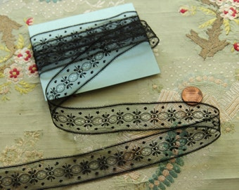 """1 yard Antique silk tulle lace 1"""" wide dainty dot pattern victorian black gothic oval insertion mourning millinery"""