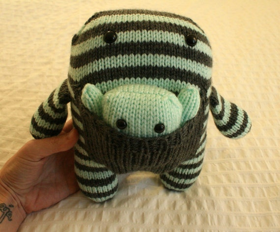 Hand Knit  Mint and Grey Mama and Baby Monsters