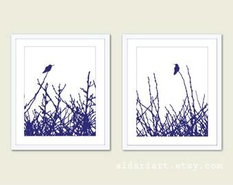 Hummingbird Prints - Hummingbird Art - Hummingbird Wall Art - Set of 2 Prints - Modern Birds Wall Art - Modern Decor - Aldari Art