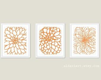 Dahlia Flowers Art Prints  - Set of Three - Modern Flowers Wall Art - Flower Decor - Tangerine Orange - Aldari Art