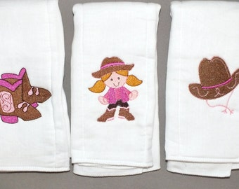 Baby girl cowgirl burp cloth set personalized cowboy set