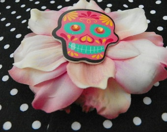 Pastel Pink Decorated Skull Anemone Spray Hair Flower