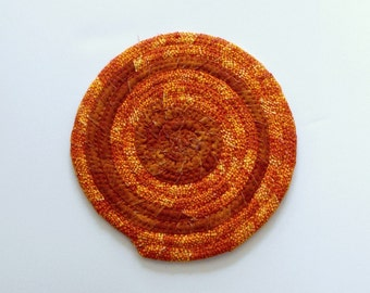 Handmade Coiled Fabric Mat - Multi Use Coiled Cotton Mat - Hot Pad Coiled Mat - Mug Rug -Tea mat - Autumn Colors - Candle Mat - Bohemian