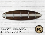 3 Ft Dark Wood Surfboard Coat Rack with 5 Boat Cleats