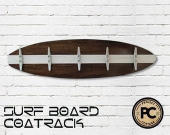 3 Ft Dark Wood Surfboard Coat Rack with 5 Boat Cleats