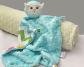 Aqua Minky Owl Security Blanket, Lovey, Minky Baby Blanket, Stuffed Animal, Baby Toy, Chevron Blanket, Baby Girl, Plush Toy, Owl Nursery