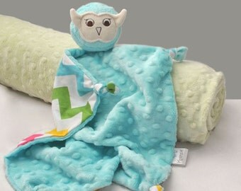 Aqua Minky Owl Security Blanket, Lovey, Minky Baby Blanket, Stuffed Animal, Baby Toy, Chevron Blanket, Baby Girl, Plush Toy, Owl Nursery