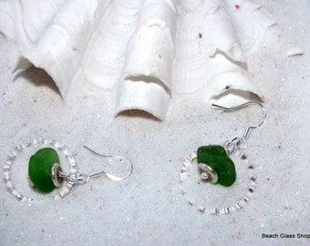 SALE -  Seaglass Earrings - Beach Earrings - Beachglass Jewelry -  Lake Erie