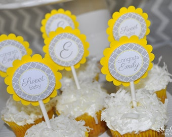 Baby Shower Cupcake Toppers - Gray and Yellow - Boy or Girl Baby Shower Decorations - Gender Neutral Shower - Set of 12