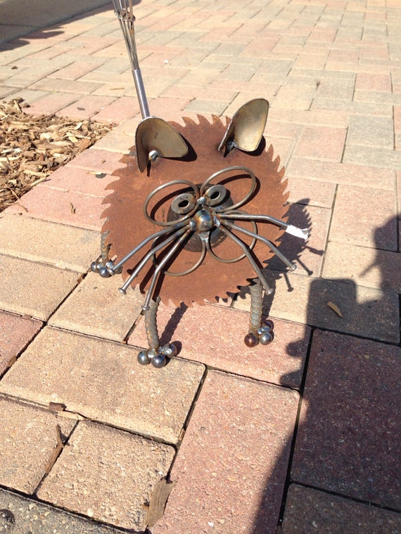 Cat recycled garden art sculpture by nbillmeyer on etsy for Cat yard art