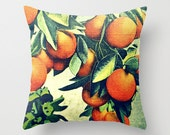 Mom Gifts for Her, Orange Fruit Pillow Cover, Fruit Pillow, Orange Decorative Pillow, Country Kitchen Pillow Orange  vintage botanical