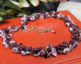 Amethyst, Pearls, Tourmaline, Garnets and Ruby Cluster Necklace