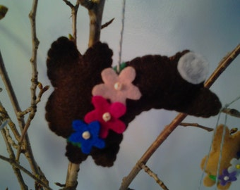 "Felt ""Chocolate"" Easter Bunny Ornament--Dark Chocolate or Milk Chocolate"