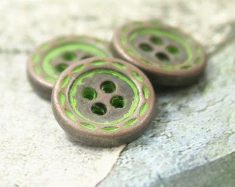 Metal Buttons - Dotted Line Edge Metal Buttons ,  Copper with Retro Green Color , 4 Holes , 0.47 inch , 10 pcs