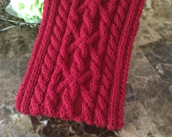 READY TO SHIP Gorgeous cable knit scarf, hand knitted scarf for men, ruby red color, cable knit