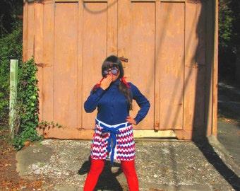 Par Avion Air Mail Handmade Crochet Pencil Skirt 60s Mod Red White Blue Yarn 70s Womens Small Petite Size S/XS Winter Fashion Patriotic