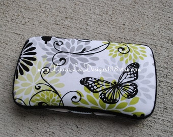 Black and Green Butterfly and Floral Design Boutique Style Travel Baby Wipe Case by LauraLeeDesigns