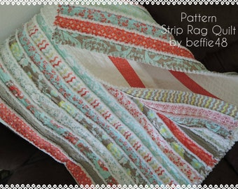 Kensington Jelly Roll Rag Quilt Pattern Tutorial with photos, Easy to Make, pdf