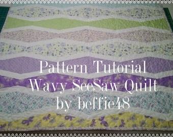 Wavy SeeSaw Quilt Pattern Tutorial, Quilt Pattern, pdf.