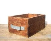 Vintage Plywood Wood Storage Box / Handmade Homemade / Tool and Supplies Storage / Storage Organization / Book Storage / Industrial Box