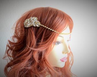Bridal Gold and Blush headband, Gold and Blush headpiece,bridal halo,1920s headband, bridal boho, One of a Kind bridal heirlom
