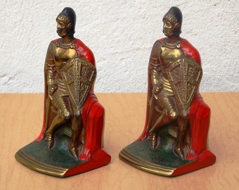 K & O Knight Crusader Bookends with Red Cape, from the 1920s