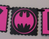 Small Pink and Black BATMAN Birthday Banner