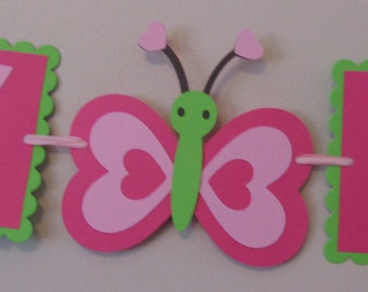 Small Butterfly Happy Birthday Banner READY TO SHIP
