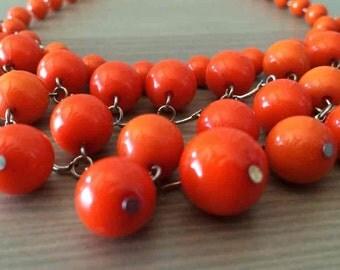 Vintage 50's Orange Bubble Necklace