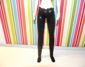Black with sparkly sequins tights leggins for DAL doll