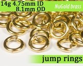 14g 4.75mm ID 8.1mm OD NuGold brass jump rings -- 14g4.75 open jumprings gold golden links jewelry findings supplies