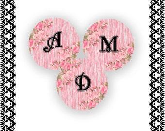 INSTANT DOWNLOAD-Pendant 1 inch circle Vintage Pink Rose Alphabet  Bottlecap Images