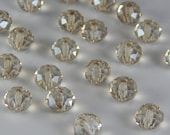 Glass Jewelry Beads - 8mm Faceted Rondelles, Pale Yellow Color, Champagne Color, 1mm Hole Size, 20 Pieces