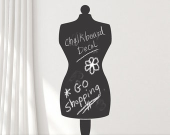 Chalkboard Decal, Mannequin Dress Form, Chalk Board Vinyl, Sewing Room Decor, Bedroom Decor, Mannequin Decor Wall Sticker