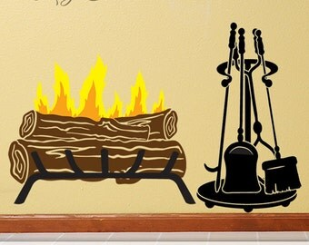 Amazing Life Like Log Fire Fireplace Decal With Accessories, Fireplace Decor