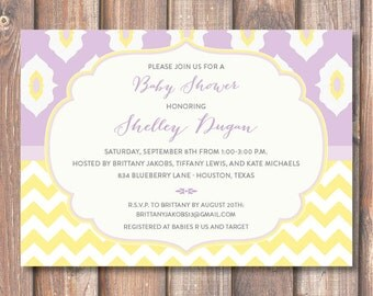Purple Baby Girl Shower Twin Girls Boho Bridal Shower Invite Birthday Party Lavender and Yellow Ikat Chevron Lilac Printable Invitation