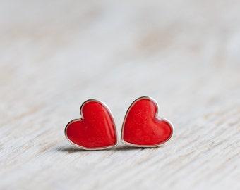 Earring Studs - Vermilion Red Hearts - Heart Earrings