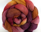 bfl silk roving , wool roving.  combed top, handpainted roving, spinning fiber, hand dyed roving
