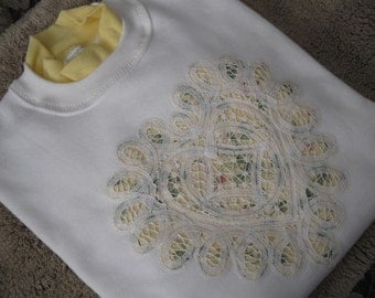 Battenburg Lace Embellished White Sweatshirt with Yellow Collar - Medium