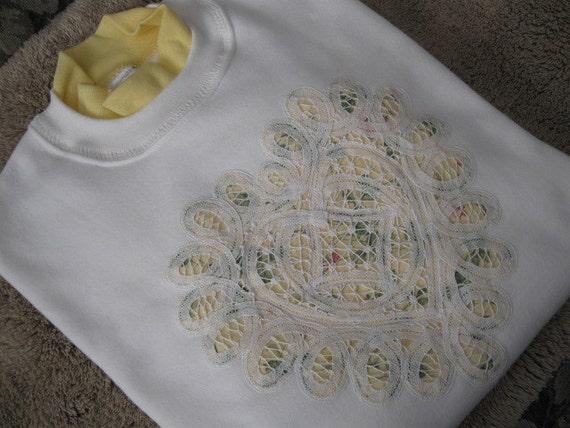 Battenburg Lace Embellished White Sweatshirt with Yellow Collar - Medium