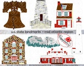 U.S. State Landmarks Mid Atlantic Region Digital Clip Art: Pennsylvania New Jersey Delaware Maryland Virginia West Virginia  Travel