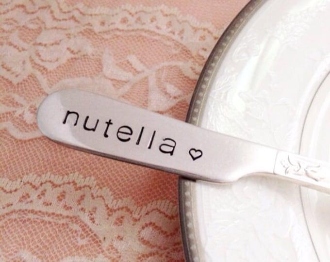 Nutella, hand stamped butter spreader, vintage silverplate, her majesty