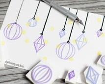 crystal stamp, gem stone stamp set, christmas ornaments stamp, crystal chandelier stamp, diamond decoration, party props, rubber stamp set