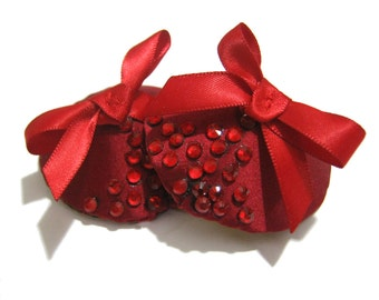 CHER Burlesque Red silk satin Studded Nipple pasties - made to order- Christmas gift