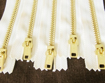 18inch - Cream Metal Zipper - Gold Teeth - 5pcs